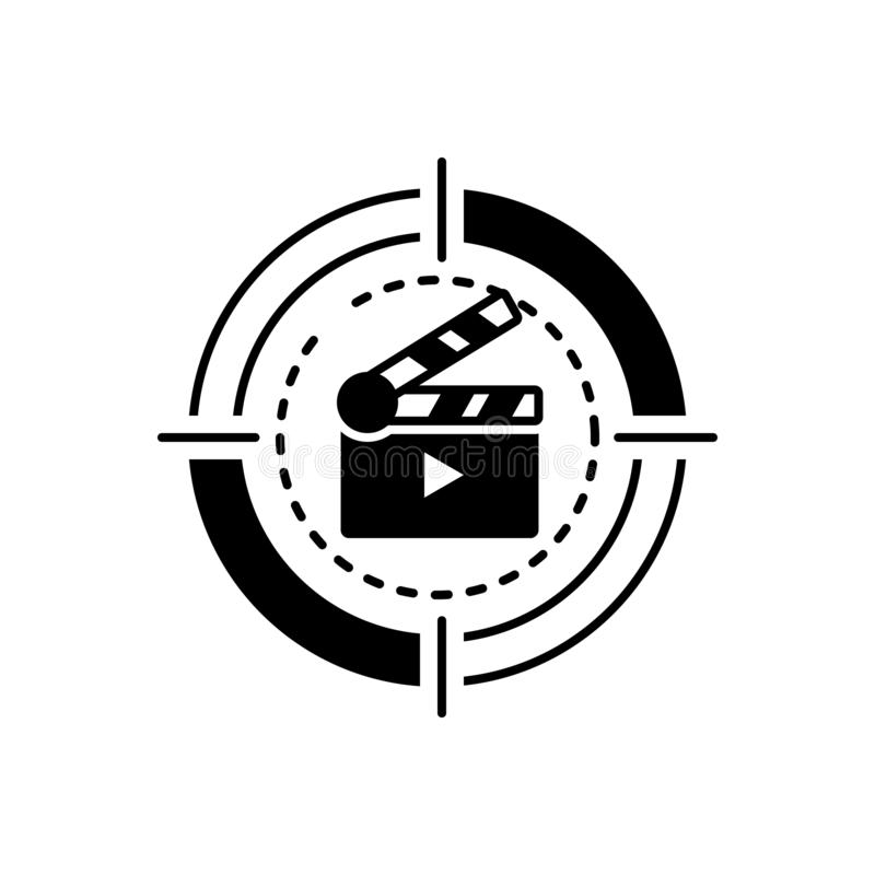 Black solid icon for Movie, cinema and film. Black solid icon for Movie, video, clapboard, entertainment,  cinema and film vector illustration
