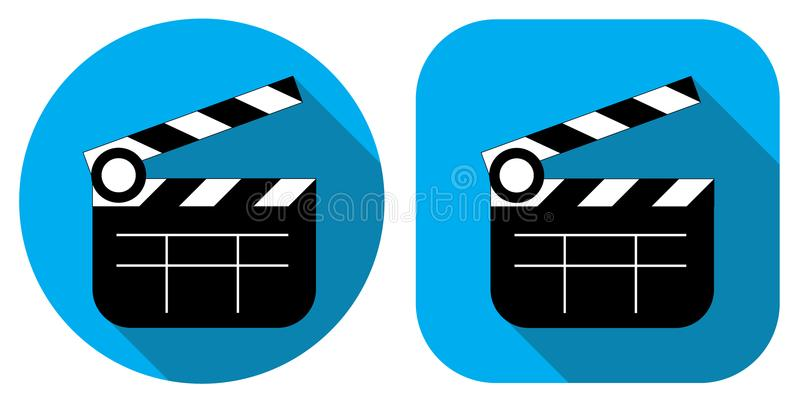 A movie icon. Cinema. Cracker for movies. Badge in a flat design. stock illustration