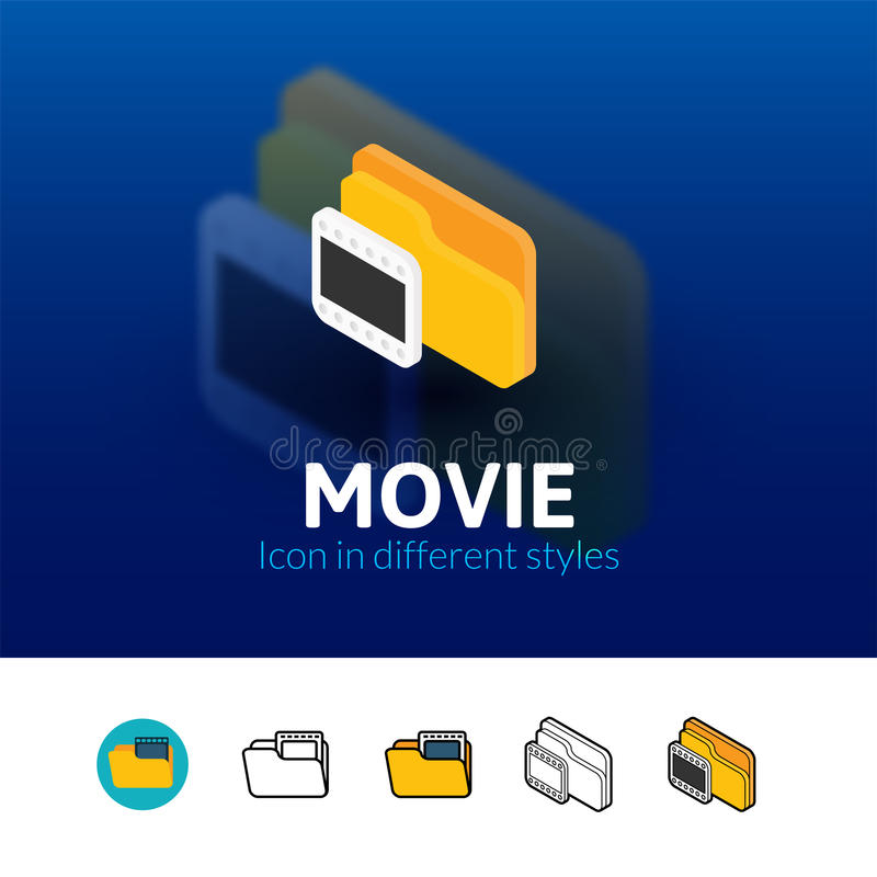 Movie icon in different style stock illustration