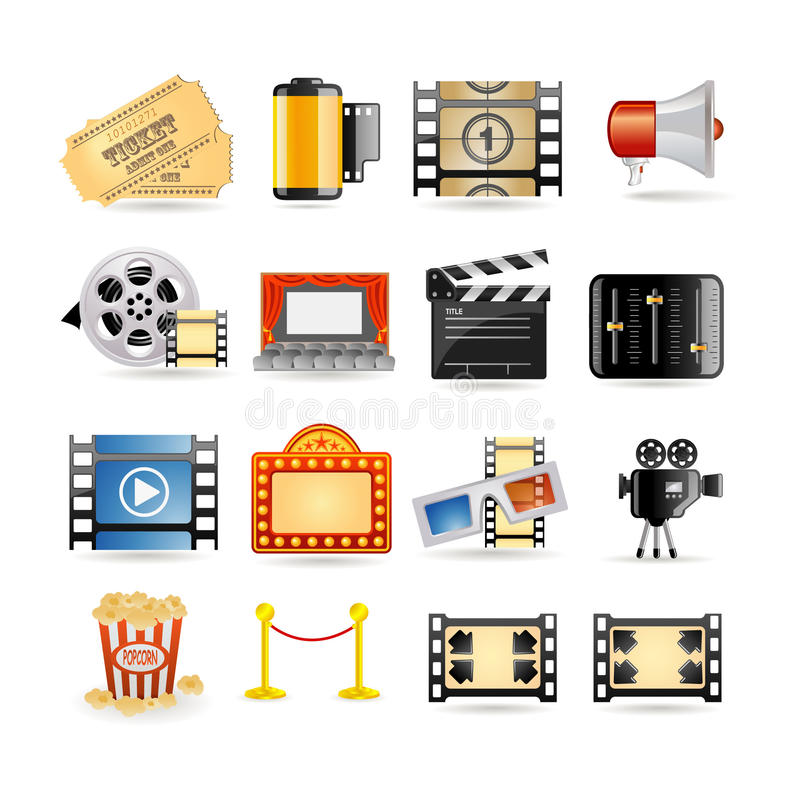 Movie icon set royalty free illustration