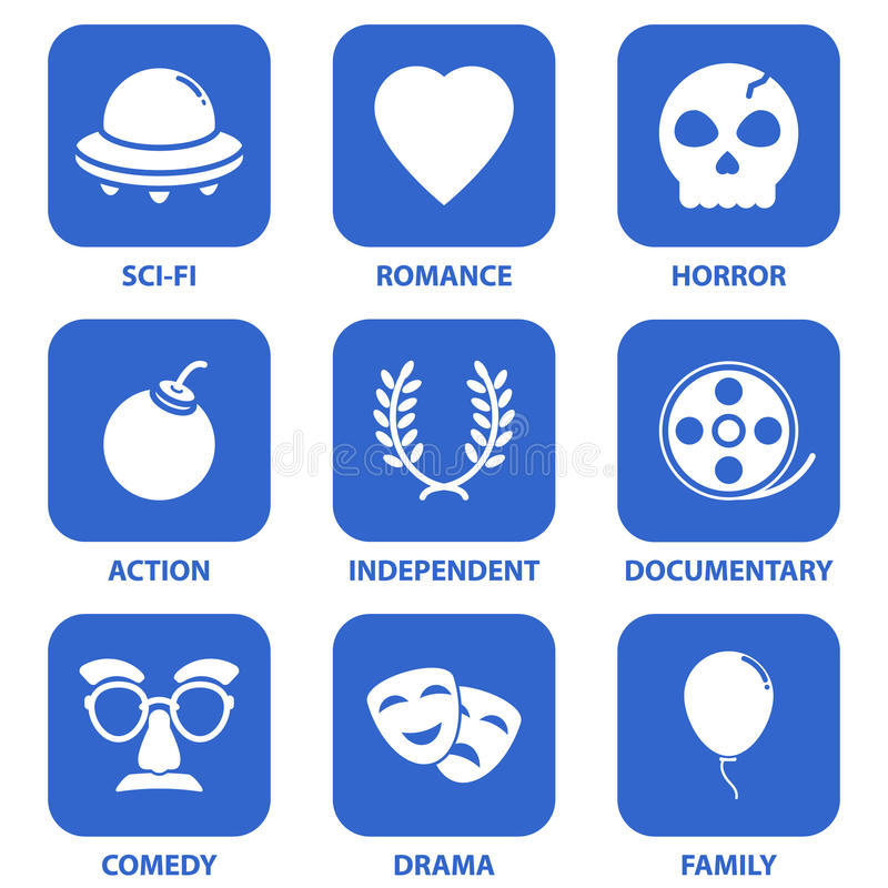 Movie Icons. A set of basic movie icons covering the standard genres. Text placed on separate layer