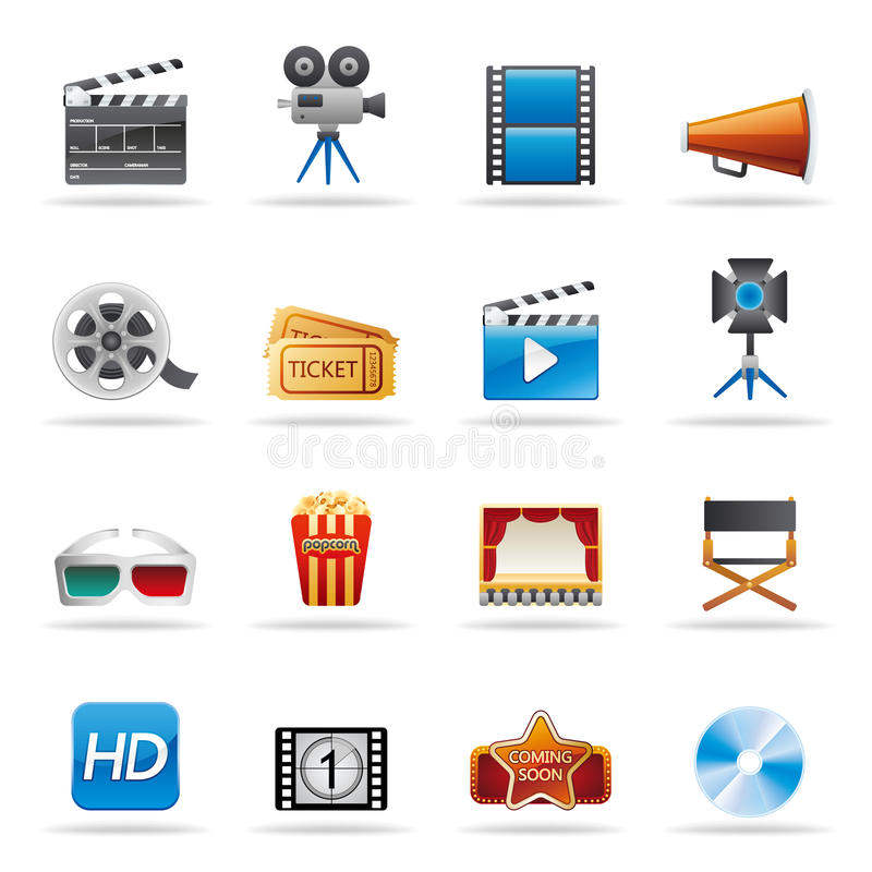 Download Movie icons stock vector. Image of graphic, business - 19386799