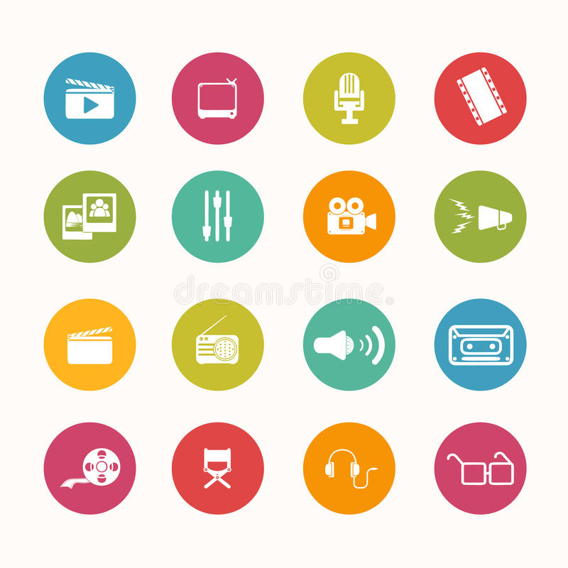 Download Movie Icons Circle Series Stock Vector - Image: 43156316
