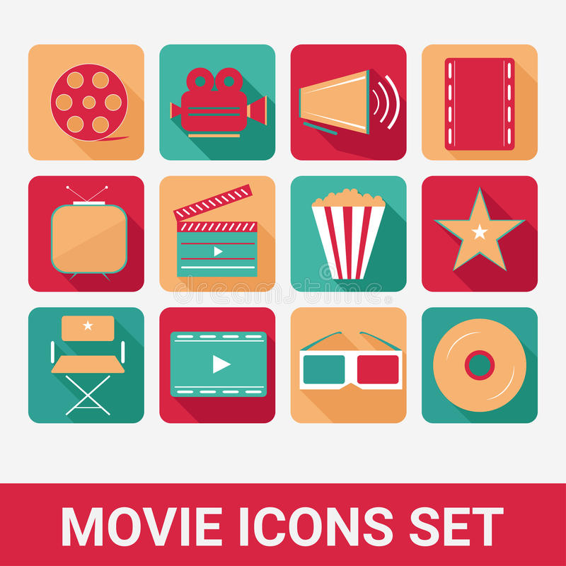 Movie icons set royalty free illustration