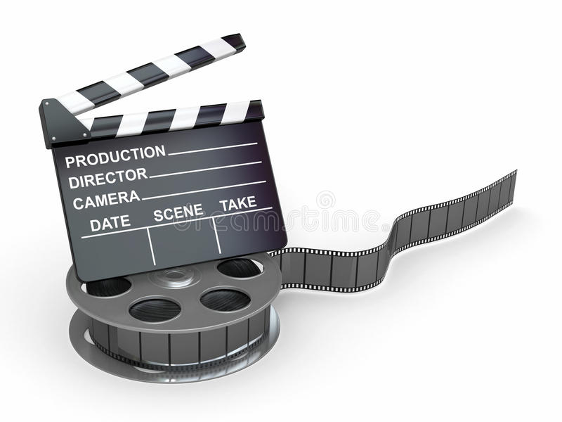 Movie industry. Clapperboard and film reel. 3d royalty free illustration