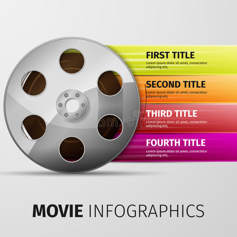 Movie infographics. 3d illustration of cinema clap and film reel, over white background vector illustration