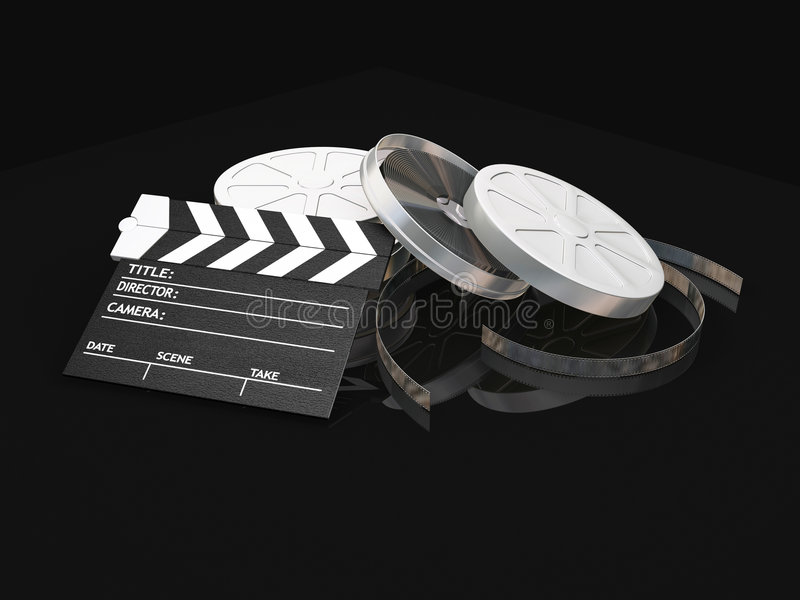 Movie items. 3D render of film reels and clapper board vector illustration