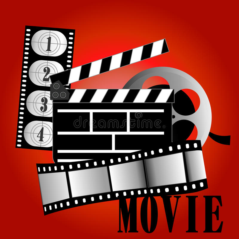 Movie items. Vector illustration film reel on background vector illustration