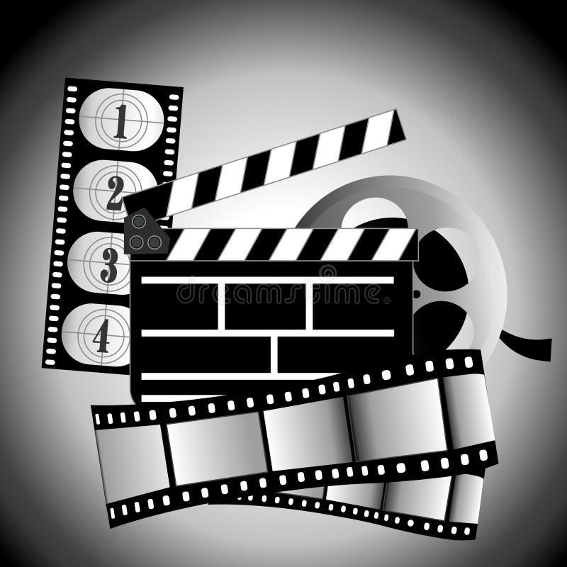 Movie items. Vector illustration film reel on background stock illustration