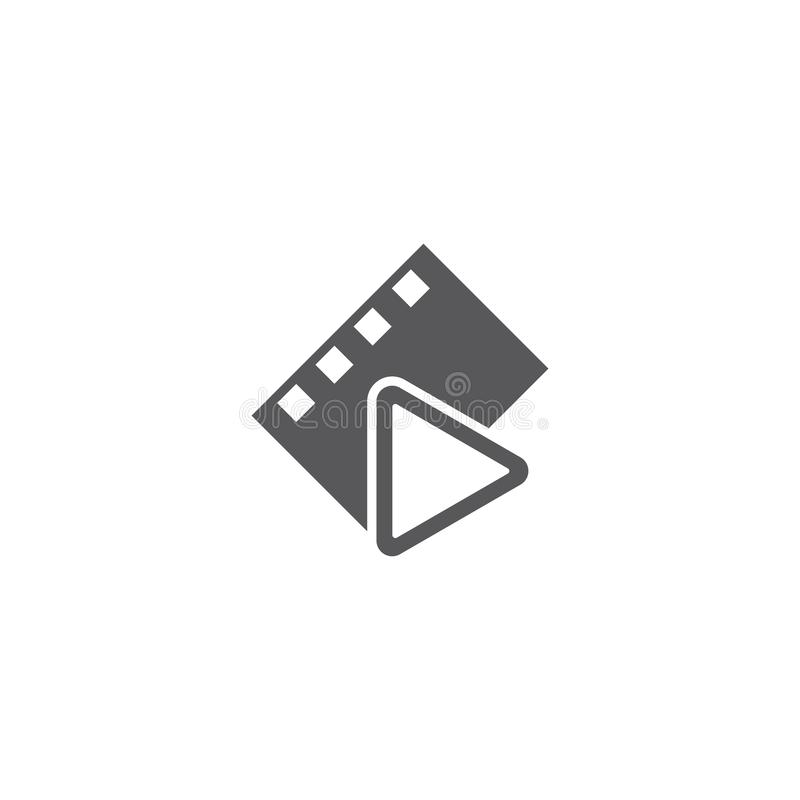 Movie logo ilustration vector. Template, abstract, analog, background, black, blank, camera, cinema, clip, coil, design, develop, entertainment, equipment stock illustration