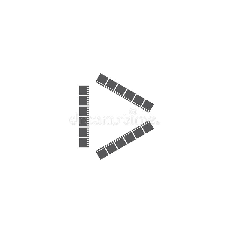 Movie logo ilustration vector. Template, abstract, analog, background, black, blank, camera, cinema, clip, coil, design, develop, entertainment, equipment royalty free illustration
