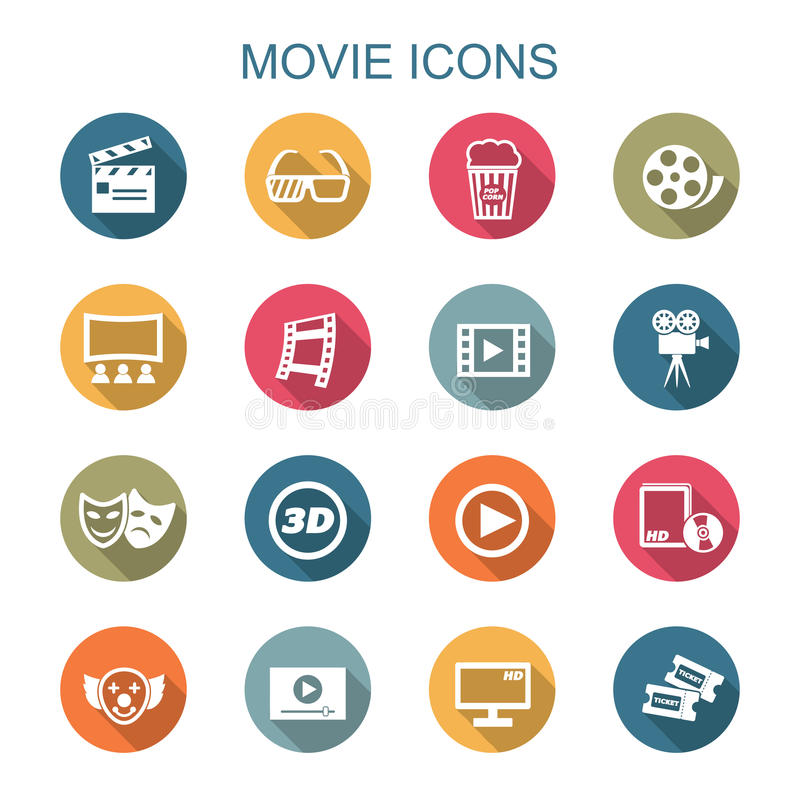 Movie long shadow icons vector illustration