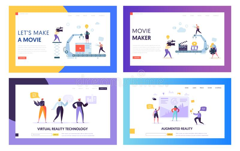 Movie Making Set Concept Landing Page. People Character with Camera Shooting Editing Film in Studio. Virtual Reality Technology royalty free illustration