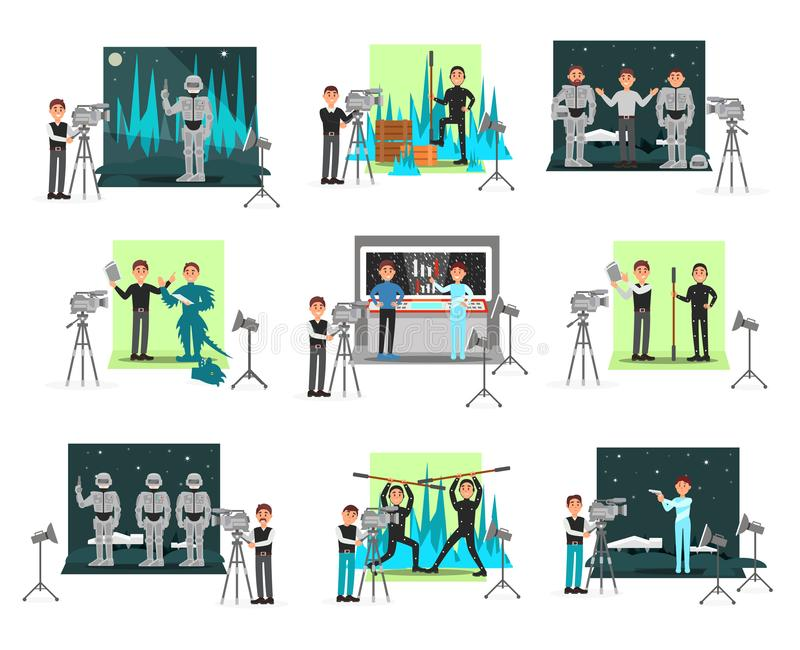 Movie making set, operators and cinematograph people, vector Illustrations isolated vector illustration
