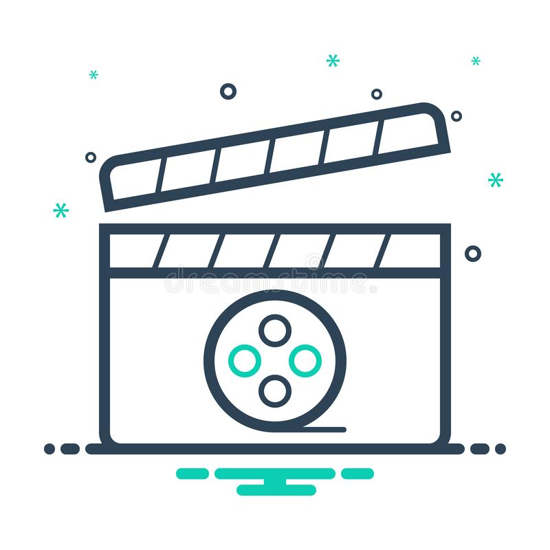 Black mix icon for Movie, video and media. Black mix icon for Movie, application, logo,  video and media royalty free illustration