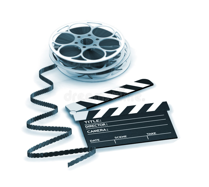 Movie night. 3D render of a clapper board and film reels royalty free illustration