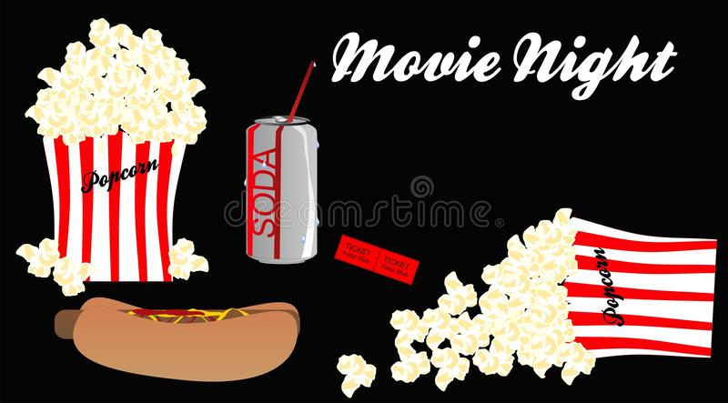 Download Movie Night With All The Trimmings.. Stock Vector - Image: 18980145