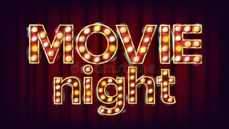 Movie Night Background Vector. Theatre Cinema Golden Illuminated Neon Light. For Theater, Cinematography Advertising. Design. Illustration stock illustration