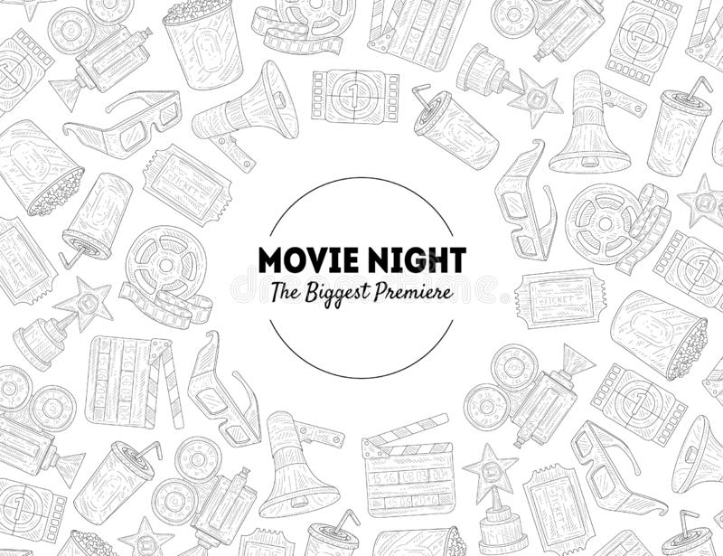 Movie Night, The Biggest Premiere Banner Template with Place for Text and Movie Symbols Hand Drawn Pattern, Cinema stock illustration