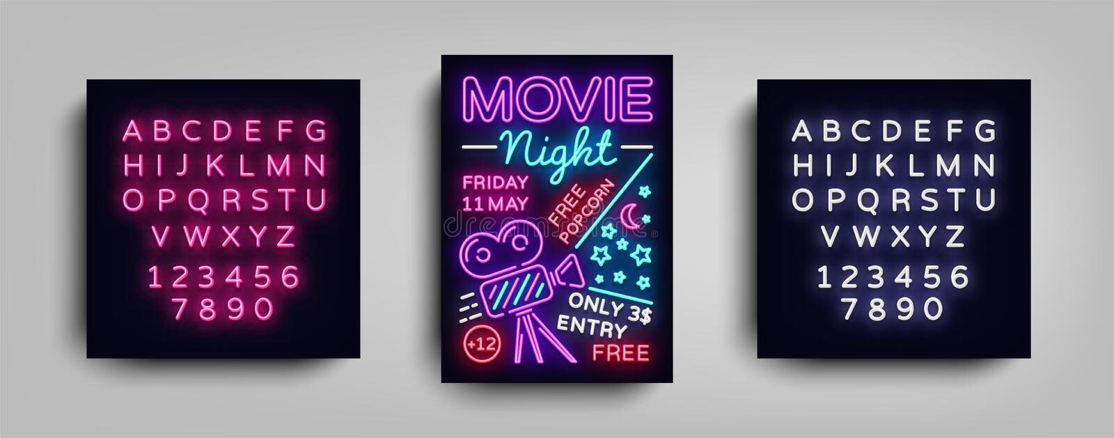 Movie Night poster design template in neon style. Neon Sign, Light Banner, Flyer, Design Postcard, Promotional Brochure vector illustration