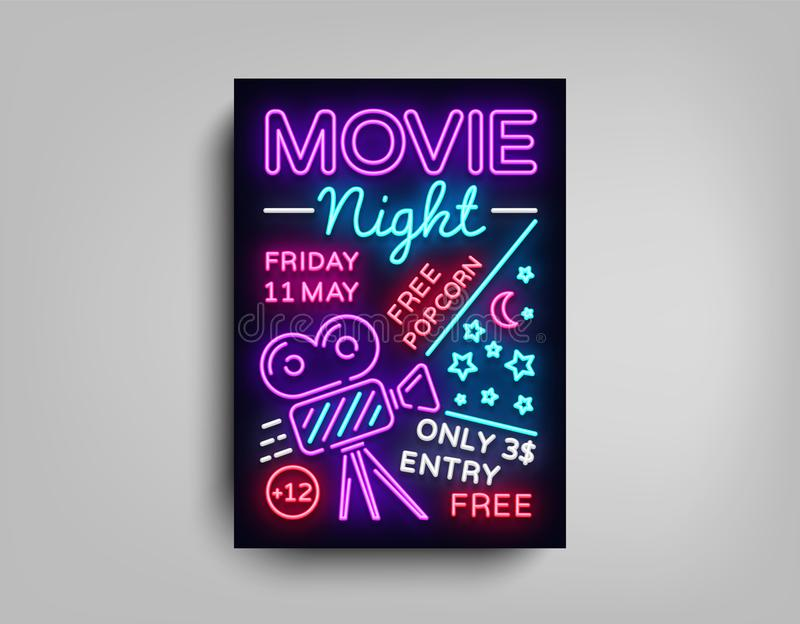 Movie Night poster design template in neon style. Neon Sign, Light Banner, Bright Flyer, Design Postcard, Promotional royalty free illustration