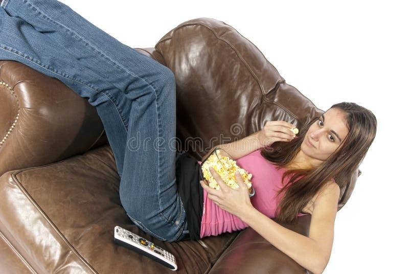 Movie Night Relaxing Watching TV Eating Popcorn Stock Photo
