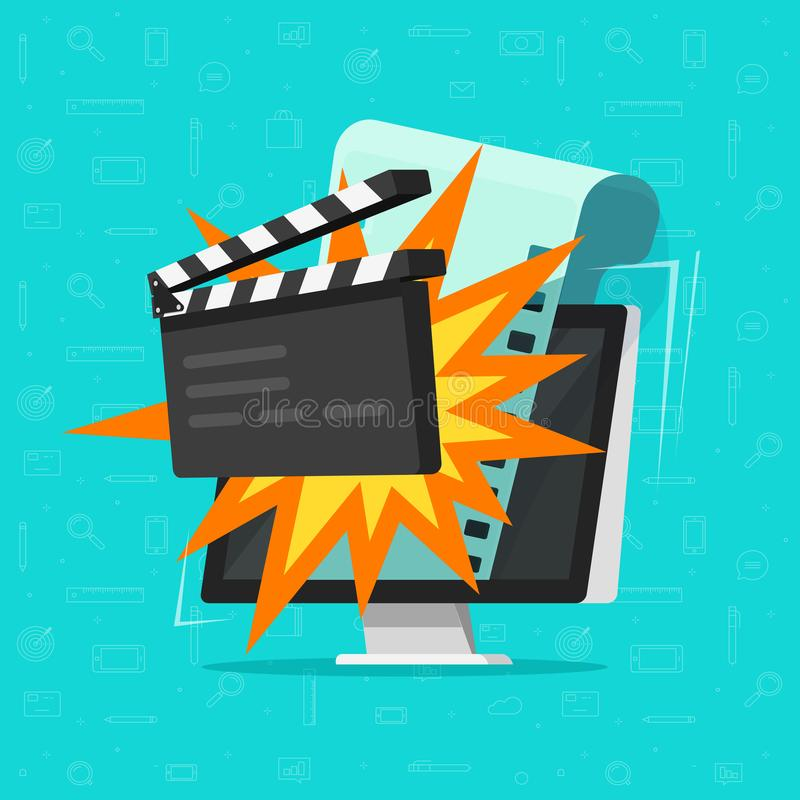 Movie or online cinema on computer concept vector illustration, flat cartoon design of clapper board and filmstrip on pc. Idea of video editor or film vector illustration