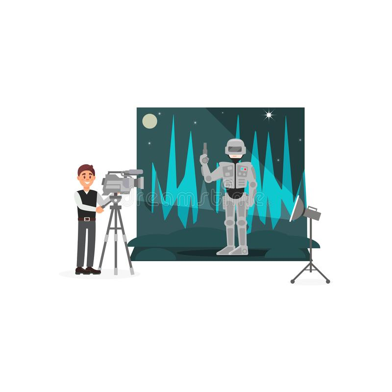 Movie operator shooting scene with astronaut, entertainment industry, movie making vector Illustration royalty free illustration