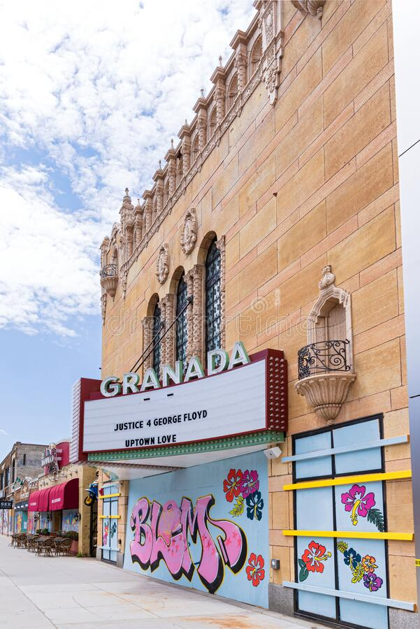 Movie palace facade in uptown minneapolis royalty free stock images