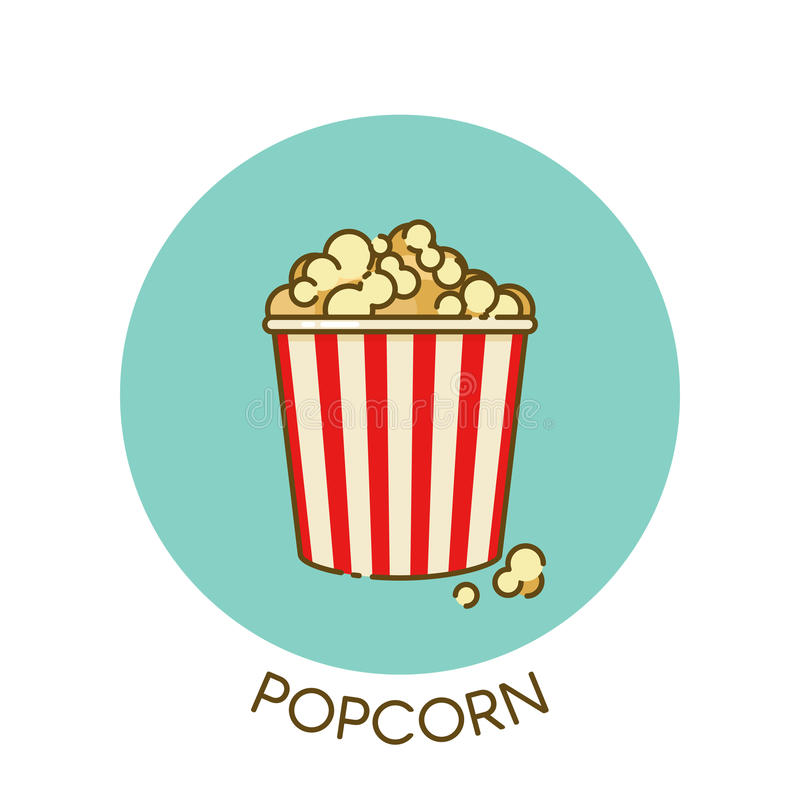 Movie Popcorn Icon In Outline Flat Design Style. Vector ...