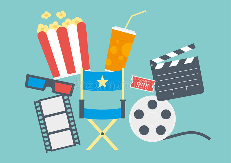 Movie Popcorn, Ticket, Clapperboard, Film. Movie items including popcorn, directors chair, ticket, clapperboard, 3D glasses and film reel vector illustration