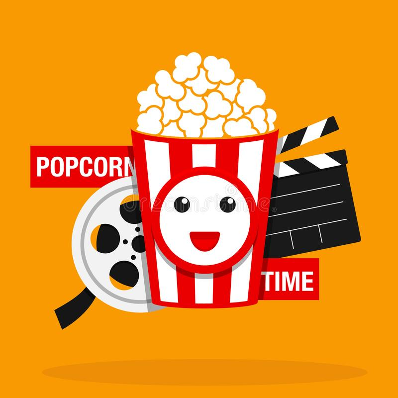 Movie, Popcorn time vector illustration. Cinema poster concept. Eps 10 royalty free illustration