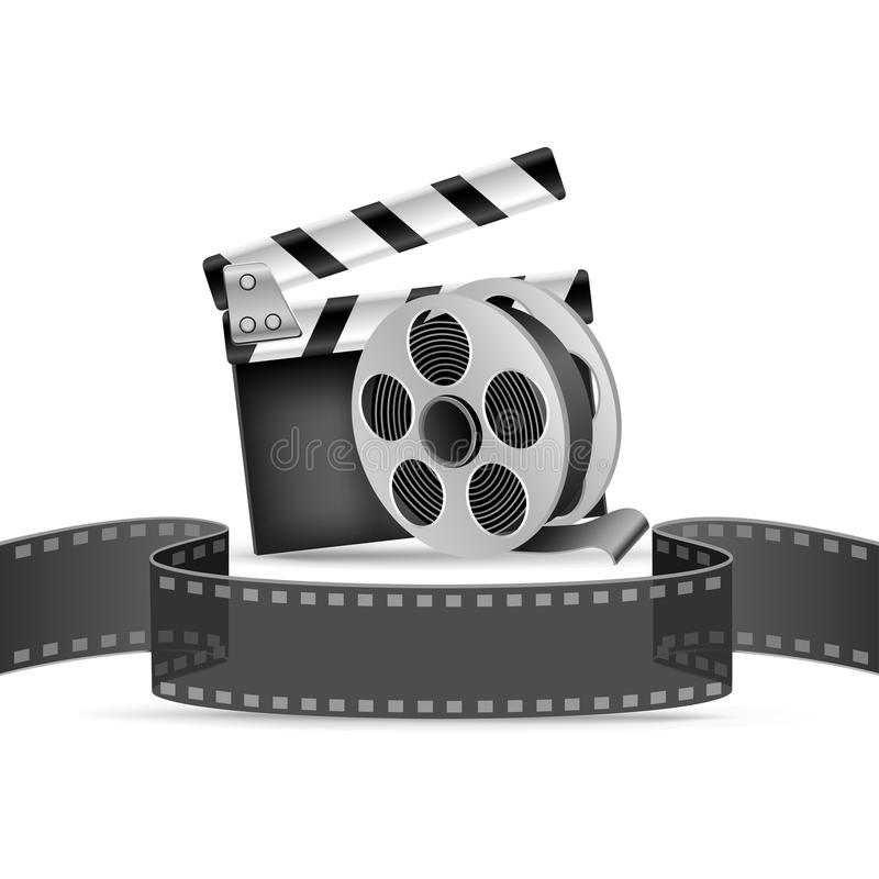 Movie poster. The clapperboard, film tape and reel on the white background vector illustration