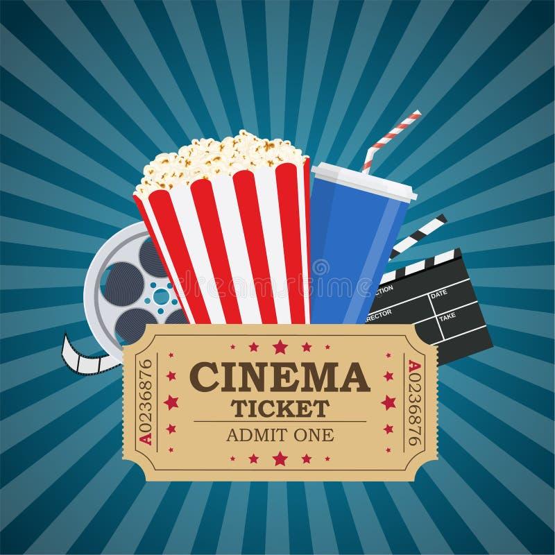 Movie poster template. Popcorn, soda takeaway, 3d cinema glasses, Film reel and tickets. Cinema design. Vector illustration in flat style vector illustration