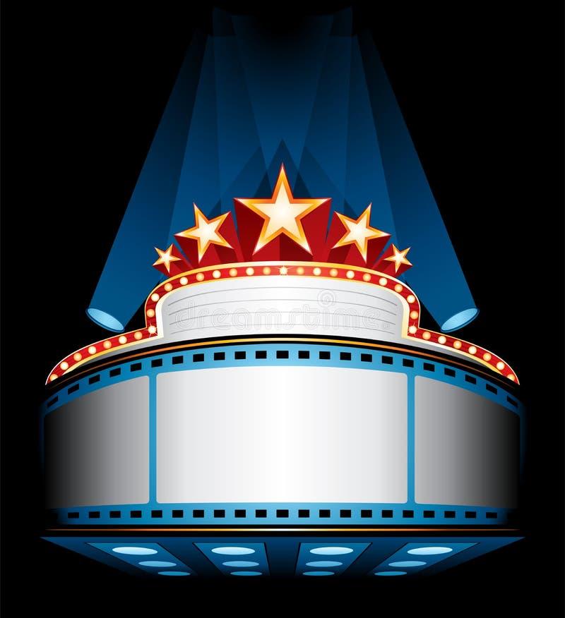 Movie premiere. Illuminated big cinema marquee with stars