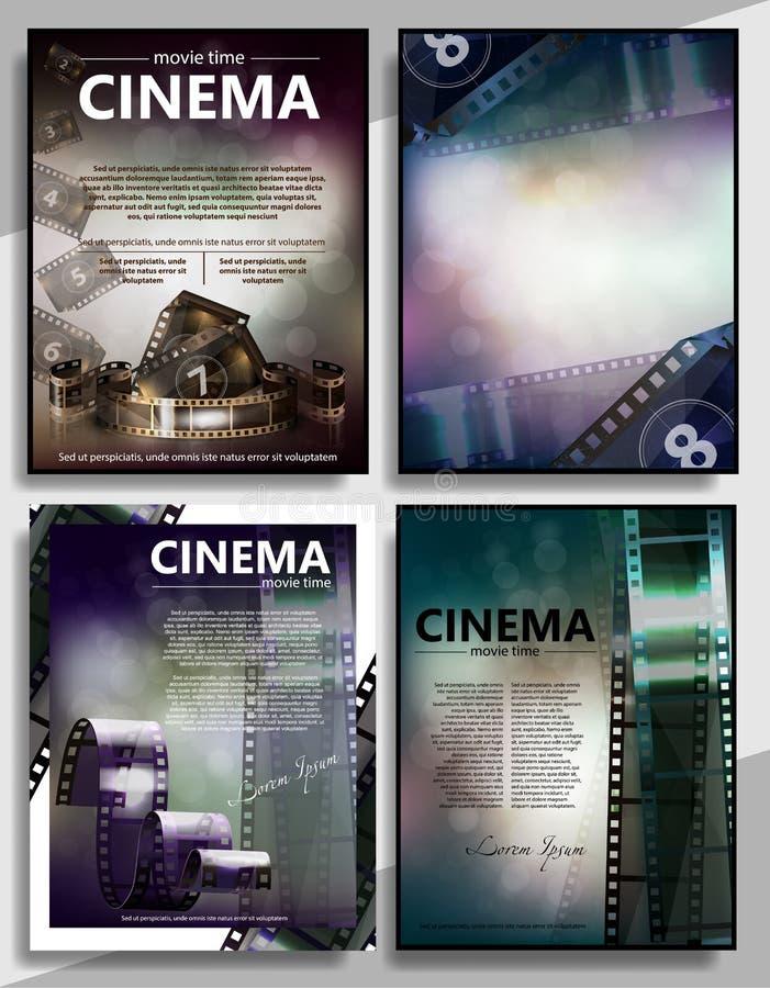 Movie premiere mini promo poster templates set isolated vector vector illustration