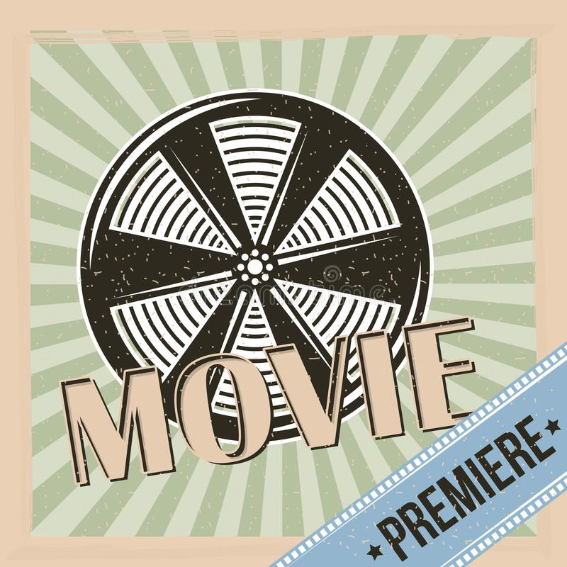 Movie premiere reel film and stripes background vintage. Icon royalty free illustration