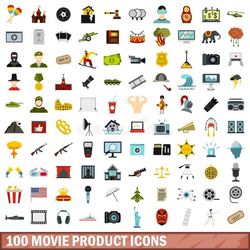100 movie product icons set, flat style vector illustration