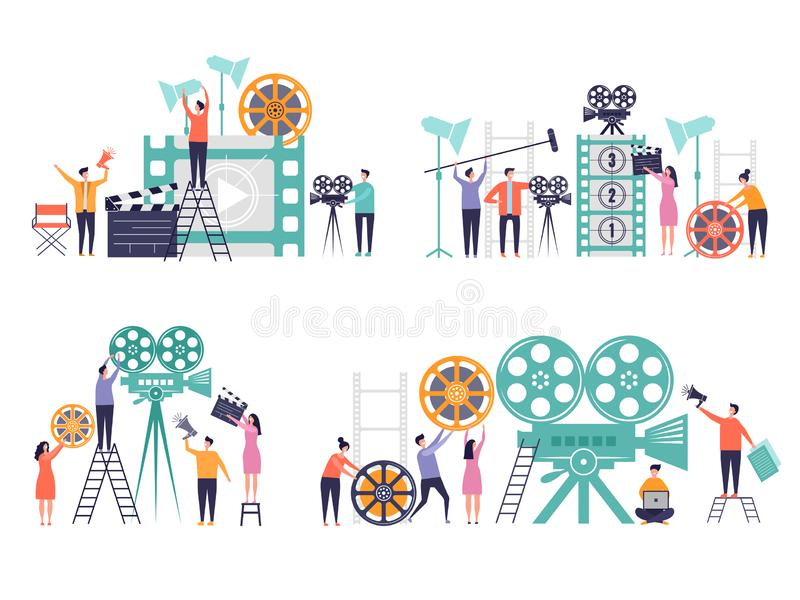 Movie production concept. Flat characters making films video camera clapboard filming person vector colored backgrounds royalty free illustration