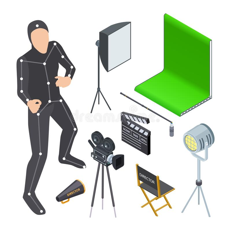 Movie production equipment. Isometric cinematograph elements. Vector camera, light, motion production tv studio, green. Screen. Production studio for cinema stock illustration