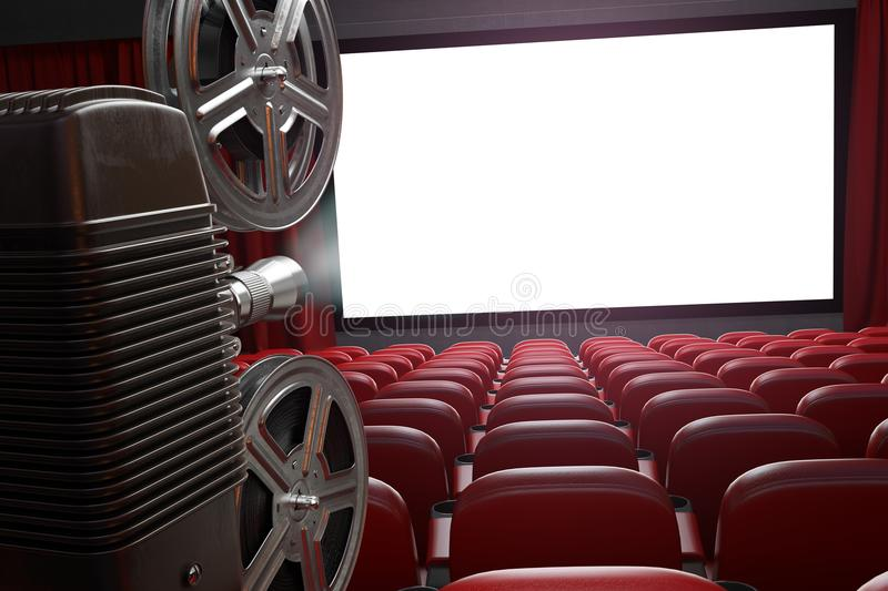 Movie projector and blank cinema screen with empty seats. Cinema stock illustration