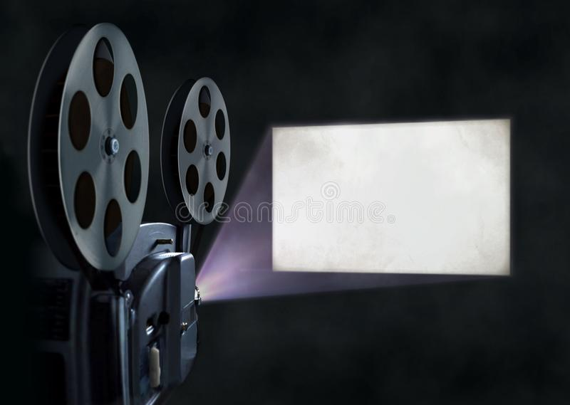 Movie projector with blank wscreen stock illustration