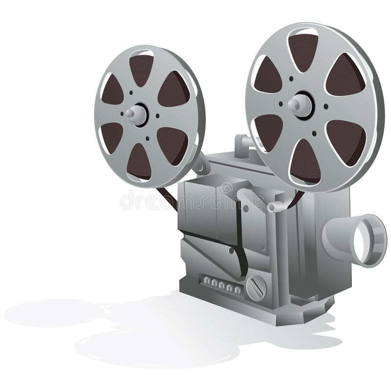 Movie Projector with clipping path. Illustration with clipping path stock illustration