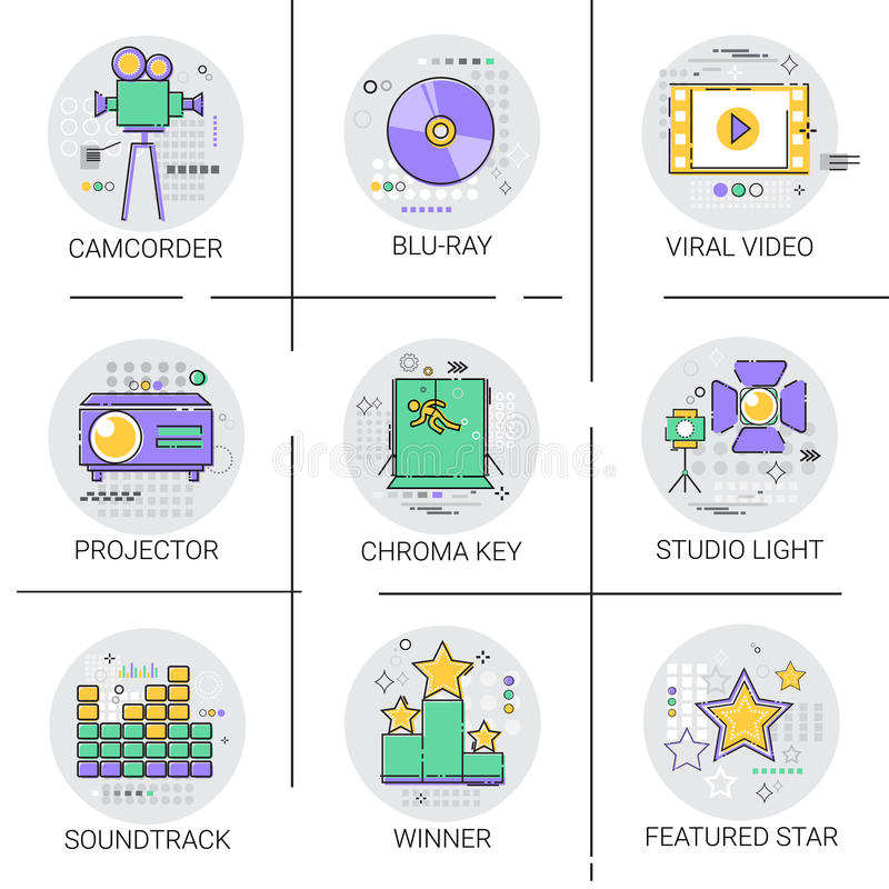 Movie Projector Film Cinema Production Technology Icon Set Studio Light Soundtrack Collection royalty free illustration