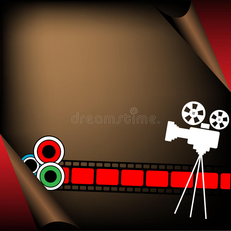 Movie projector and filmstrip. Abstract colorful illustration with movie projector shape and colored filmstrip royalty free illustration