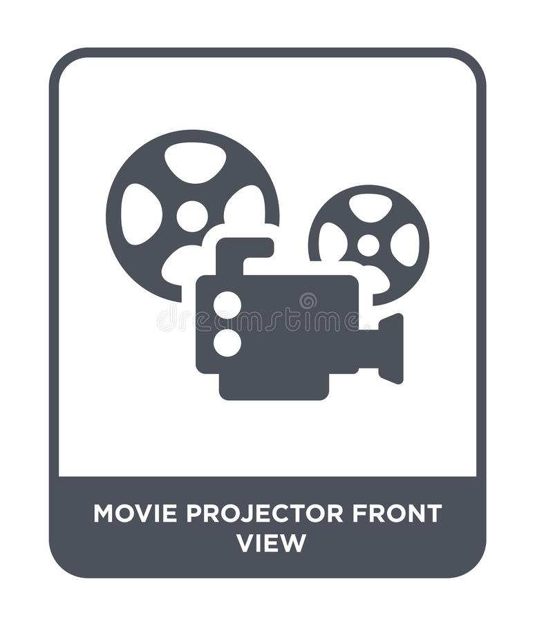 movie projector front view icon in trendy design style. movie projector front view icon isolated on white background. movie royalty free illustration