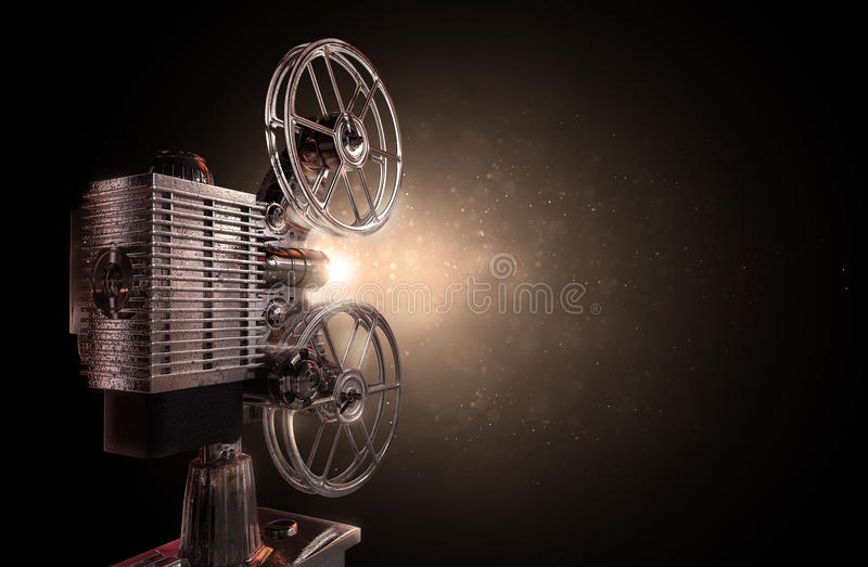 Movie projector. Illustration of an old movie projector , Particle dust background vector illustration