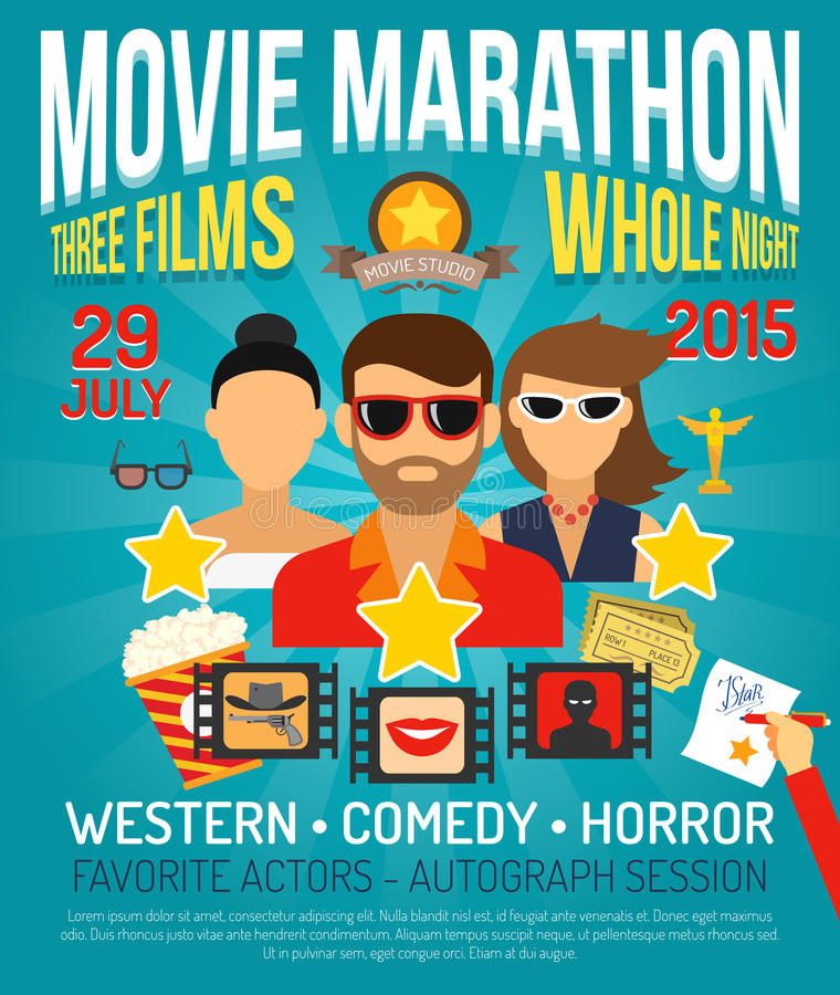 Movie Promo Poster. Movie marathon promo poster with actors portraits flat vector illustration stock illustration