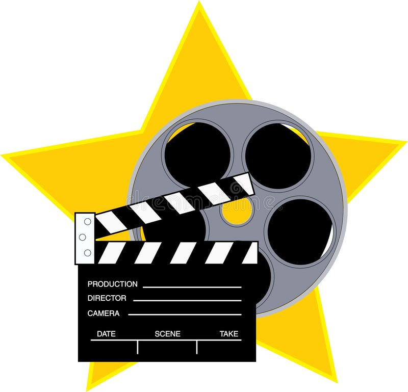Movie reel. And clapboard with a star background