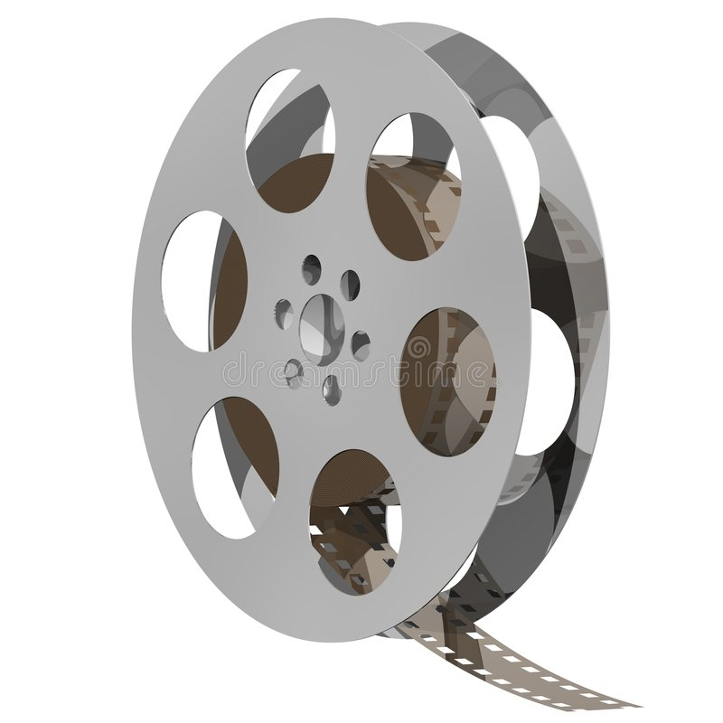 Movie Reel. Perfect steel movie reel isolated on white royalty free illustration